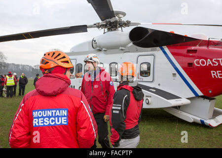 A Sikorsky S92 Helicopters run operated by Bristows at Carlton Hall in Penrith, Cumbria, UK to train with Lake district - Stock Photo