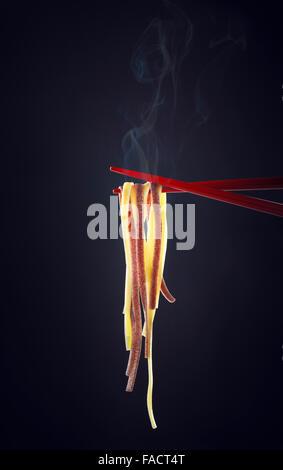 Steamy Noodles on Chopsticks - Stock Photo