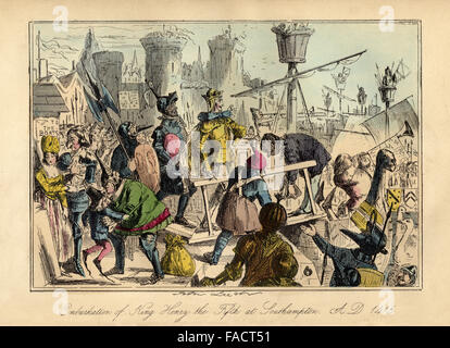 Hand coloured comic Illustration from 1846 depicting King Henry V departing for France in 1415 before the Battle - Stock Photo