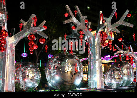 Christmas and New Year decorations at Orchard Street in Singapore - Stock Photo