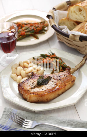 cooked french cut pork chops - Stock Photo
