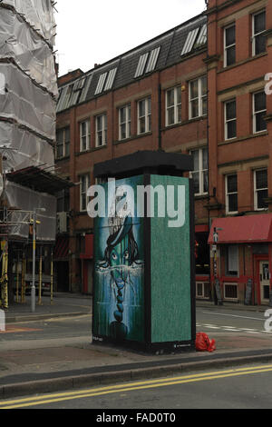 Grey sky portrait, to Spear Street, SLM 'Wild Woman Island ' image, Outhouse , Stevenson Square, Northern Quarter, - Stock Photo