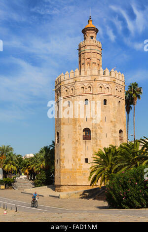 Seville, Seville Province, Andalusia, southern Spain. Torre del Oro: the Tower of Gold - Stock Photo