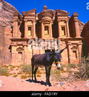 The Ed-Deir grave in Petra.The old city of Petra is an UNESCO World Heritage site - Stock Photo