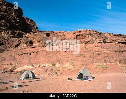 Two tents of hikers in Wadi Rum,Jordan - Stock Photo