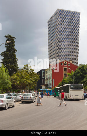 Tirana, Albania.  The 85 meter high TID Tower. The tower was designed by Belgian architectural firm 51N4E. - Stock Photo