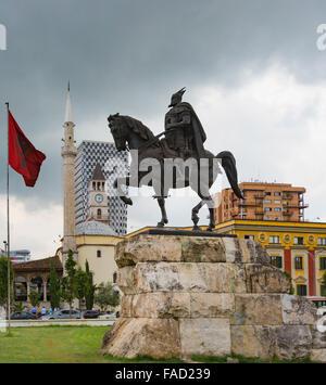 Tirana, Albania. Skanderbeg Square with monument to Skanderbeg, real name George Castriot, 1405 – 1468. Albanian - Stock Photo