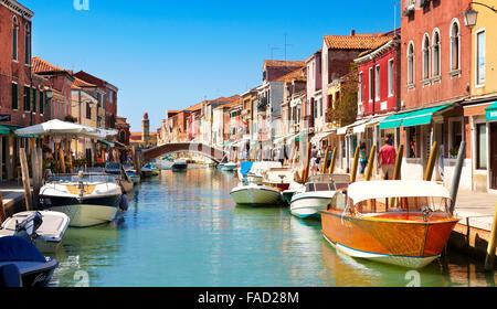Canal of Fondamente dei Vetrai with morred boats, Murano Lagoon Island, Veneto, Venice, UNESCO - Stock Photo