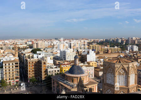 Valencia, Spain.  View over the city from the Micalet Tower or Torre del Micalet aka El Miguelete, of the cathedral. - Stock Photo