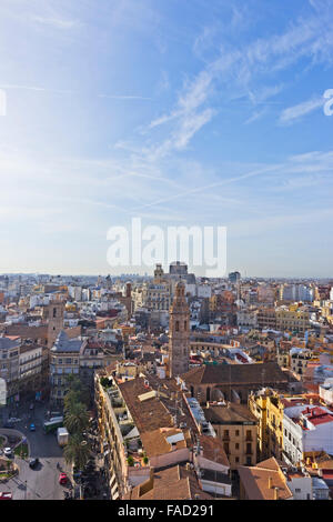 Valencia, Spain.  View over the city from the Micalet Tower or Torre del Micalet aka El Miguelete. - Stock Photo