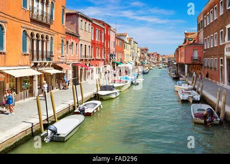 Canal of Fondamente dei Vetrai with boats, Murano Lagoon Island, Veneto, Italy, UNESCO - Stock Photo