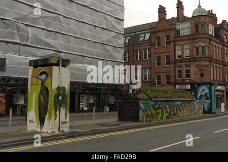 View to Spear Street Faunagraphic heron, Oliver Smith 'Mon 53' mural, SLM 'Wild Woman island', Stevenson Square, - Stock Photo