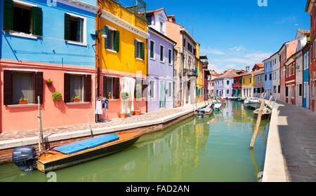 Characteristic colourful houses in village of Burano near Venice in Italy (Burano Lagoon Island), UNESCO - Stock Photo