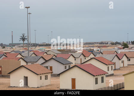 Low cost housing outside Walvis Bay - Stock Photo
