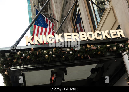 Knickerbocker Hotel Front Entrance Sign,  42nd Street, Times Square, NYC, USA - Stock Photo