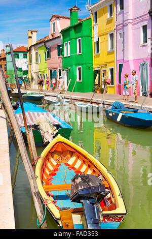 Colourful Houses in Burano near Venice, (Burano Lagoon Island), Italy - Stock Photo