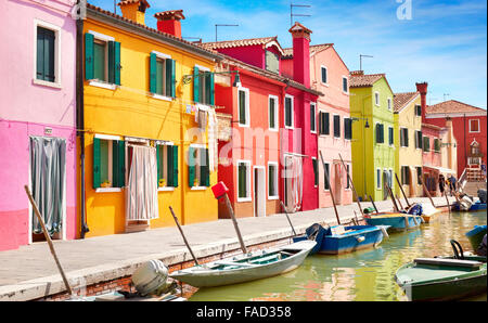Colourful houses - Burano Island near Venice, Italy - Stock Photo