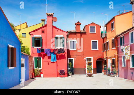 Characteristic colourful houses in village of Burano near Venice in Italy (Burano Lagoon Island), UNESCO - Stock Photo