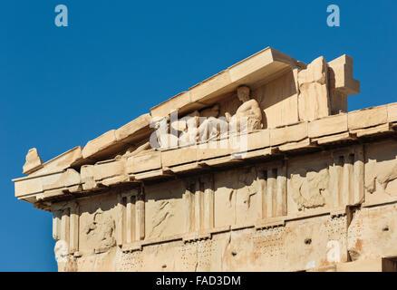 Athens, Attica, Greece.  Eastern pediment of the Parthenon showing surviving sculptures. - Stock Photo