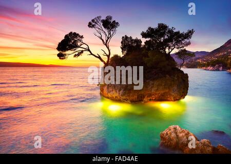 Croatia Coast, Makarska Riviera, Brela beach landscape at sunset, Croatia - Stock Photo