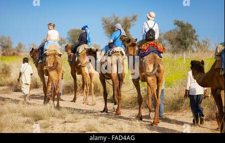 Camel caravan safari ride with tourists in Thar Desert near Jaisalmer, India