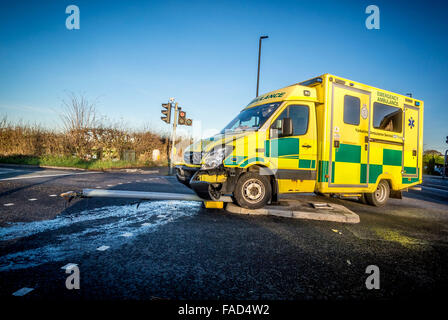 Ambulance crashed into traffic lights at junction of New Lane and Malton Road in Huntington, York. Photo Bailey - Stock Photo