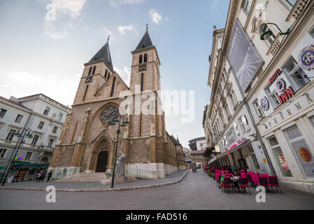 Christian Sacred Heart Cathedral or simply Sarajevo Cathedral in Sarajevo city, Bosnia and Herzegovina - Stock Photo