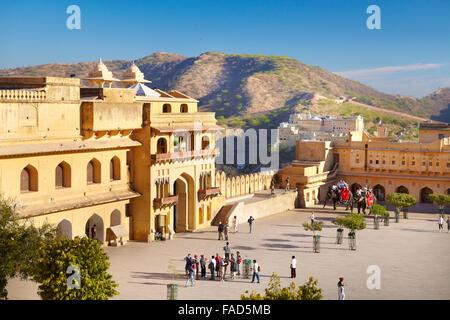 View of Jaleb Chowk courtyard, Amber Fort, Jaipur, India - Stock Photo
