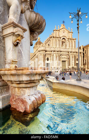 Fountain of the elephant and Catania Cathedral, Piazza Duomo, Catania old town, Sicily, Italy - Stock Photo