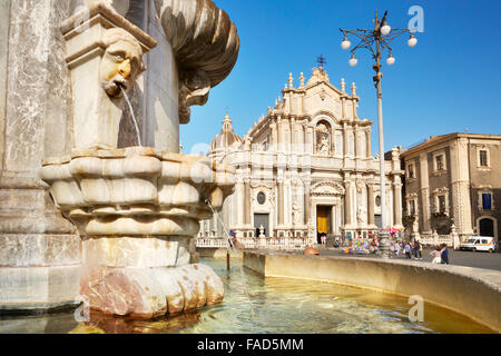 Catania - Fountain of the elephant and Cathedral of Sant Agata, Sicily, Italy - Stock Photo