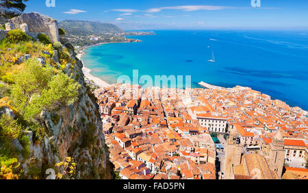 Aerial view at Cefalu from La Rocca hill, Sicily, Italy - Stock Photo