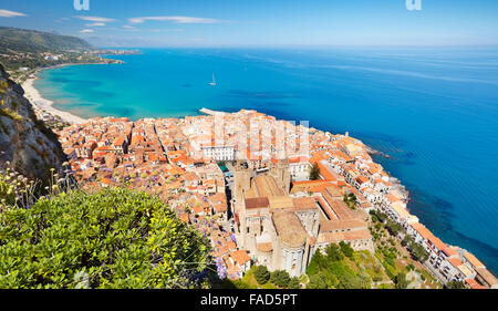 Sicily Island - aerial view at Cefalu from La Rocca hill, Sicily, Italy - Stock Photo