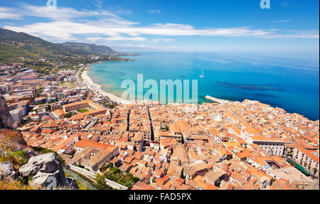 Cefalu Old Town, view from La Rocca, Sicily, Italy - Stock Photo