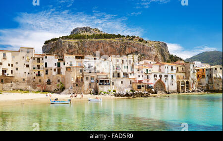 Sicily Island - Medieval houses and La Rocca Hill, Cefalu, Italy - Stock Photo