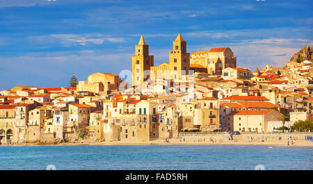 Sicily Island - Cefalu old town and cathedral, Sicily, Italy - Stock Photo