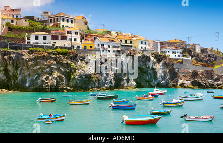 Fishing village Camara de Lobos, Madeira Island, Portugal - Stock Photo