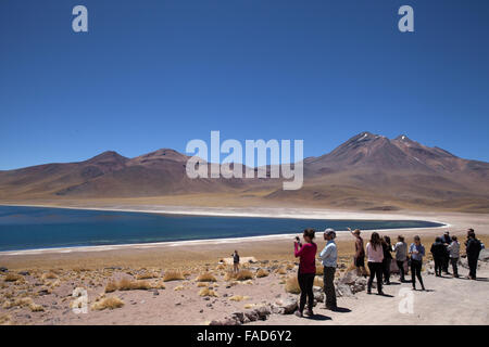 Tourists at the Miscanti Lagoon and Miñiquesvolcano in the Altiplano of the Antofagasta region in northern Chile - Stock Photo