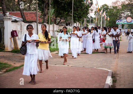 Pilgrims in the Ruwanwelisaya Dagoba, Sacred City of Anuradhapura, UNESCO World Heritage Site, North Central Province, - Stock Photo