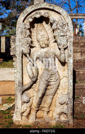 Guard stone of temple,  Sacred City of Anuradhapura, UNESCO World Heritage Site, North Central Province, Sri Lanka, - Stock Photo