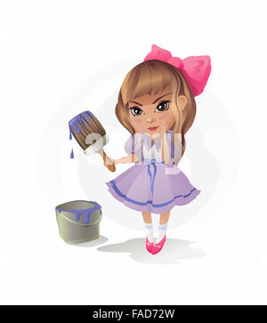 The vector illustration of the Girl with Paintbrush. Art. Painting. Artist. Near a Paintbrush it is easy to write - Stock Photo