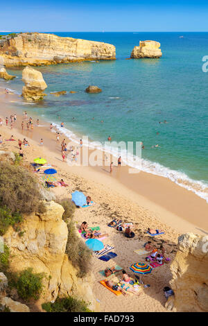 Algarve coast beach near Albufeira, Portugal - Stock Photo