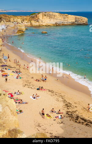 Algarve beach coast near Albufeira, Portugal - Stock Photo