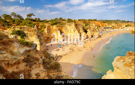 Algarve coast near Albufeira, Portugal - Stock Photo