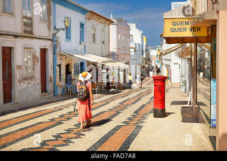 Lagos old town, Rua 25 de Abril, Lagos Municipality, Algarve, Portugal - Stock Photo