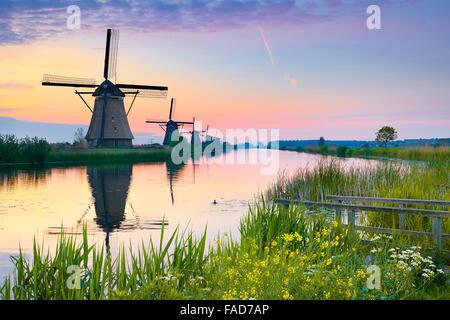 Netherlands windmill, Holland - Stock Photo