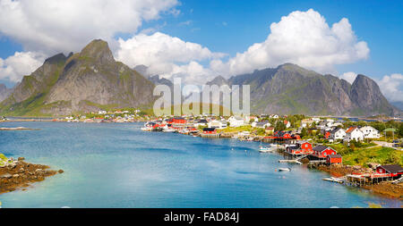 Lofoten Islands, village of Reine in Moskenes, Norway - Stock Photo