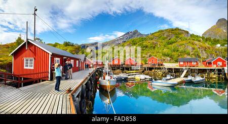 Lofoten Islands, red fishermen's houses rorbu, Nusfjord, Norway - Stock Photo