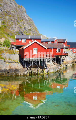 Traditional red painted rorbu houses, Lofoten Islands, Norway - Stock Photo