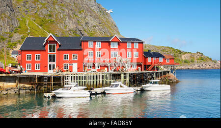 Traditional red painted houses, Lofoten Islands, Norway - Stock Photo