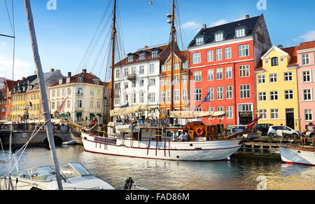 Copenhagen old town, Denmark - the ships moored in Nyhavn Canal - Stock Photo
